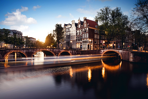 Amsterdam「Typical bridge on the canals in the central Amsterdam」:スマホ壁紙(5)