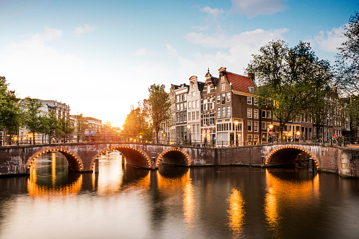 Amsterdam「Typical bridge on the canals in the central Amsterdam」:スマホ壁紙(4)