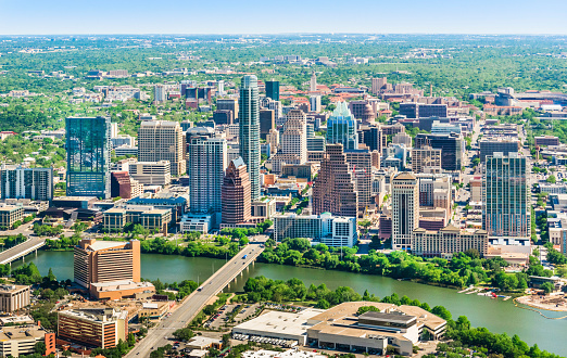 Colorado River「Austin Texas skyline cityscape aerial view」:スマホ壁紙(12)