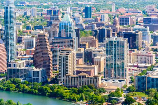 Austin - Texas「Austin Texas downtown cityscape skyline aerial view」:スマホ壁紙(19)