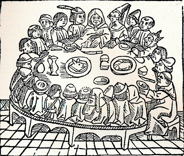 Woodcut「'The Canterbury Pilgrims sitting down for a shared meal', 1485. Artist: William Caxton.」:写真・画像(4)[壁紙.com]