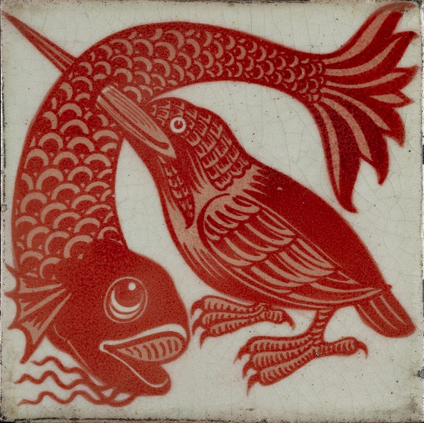 Beak「Tile With Kingfisher With Beak Through Fish」:写真・画像(4)[壁紙.com]