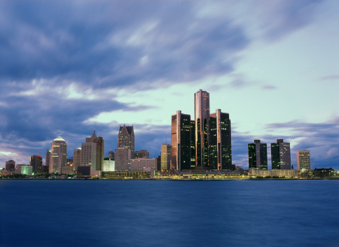 Great Lakes「USA, Michigan, Detroit skyline」:スマホ壁紙(12)
