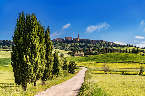 Cathedral「Italian landscape with the hilltop town of Pienza in Tuscany」:スマホ壁紙(17)