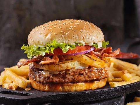Spanish Onion「Hawaiian Teriyaki, Pineapple and Bacon Burger with Fries」:スマホ壁紙(4)