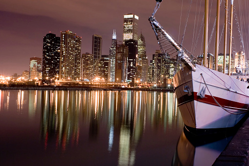 Great Lakes「Lakefront and downtown Chicago from Navy Pier at night」:スマホ壁紙(6)