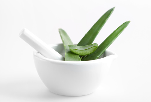 Mortar and Pestle「Aloe vera in mortar on white background」:スマホ壁紙(16)