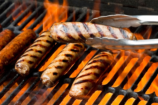 Barbecue Grill「Bratwurst or Hot Dogs on Grill with Flames」:スマホ壁紙(0)