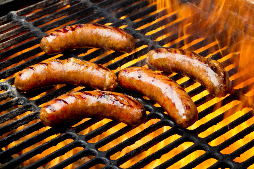 Barbecue Grill「Bratwurst or Hot Dogs on Grill with Flames」:スマホ壁紙(1)
