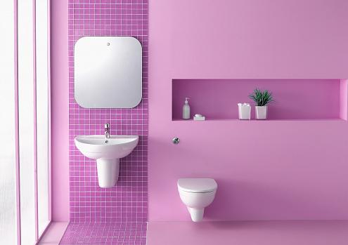 ピンク色「ピンクのバスルーム」:スマホ壁紙(4)