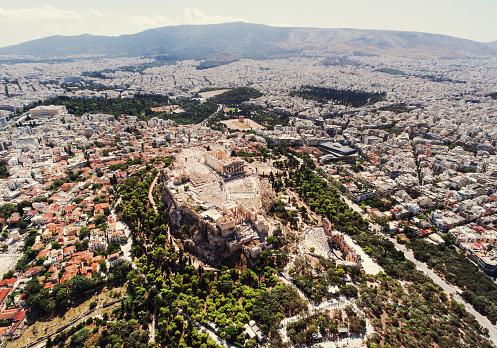 歴史「アテネのアクロポリスの空からの眺め」:スマホ壁紙(17)