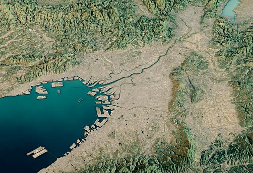 Kinki Region「Osaka 3D Render Satellite View Topographic Map Horizontal」:スマホ壁紙(16)