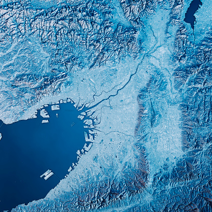 Satellite View「Osaka 3D Render Satellite View Topographic Map Blue」:スマホ壁紙(13)