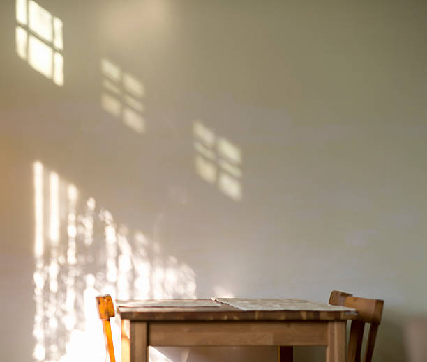 Dinning set and shadow of sunshine on the wall:スマホ壁紙(壁紙.com)