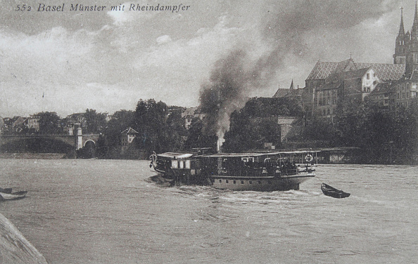 Passenger Craft「Münster And Rhine Steamer In Basel. About 1910. Photograph.」:写真・画像(9)[壁紙.com]