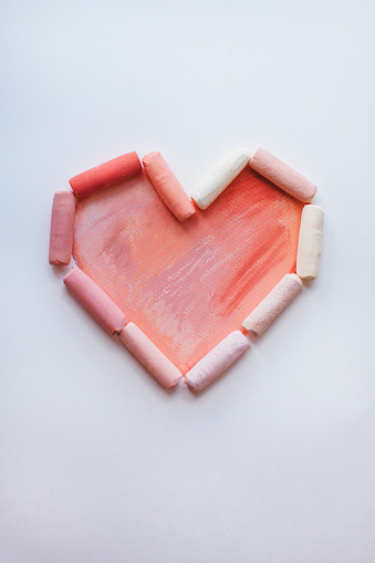 Valentine's Day「Heart shape made from pastel sticks」:スマホ壁紙(1)