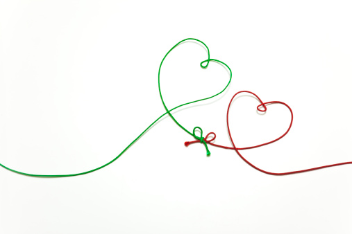 ハート「heart shaped green & red string」:スマホ壁紙(3)
