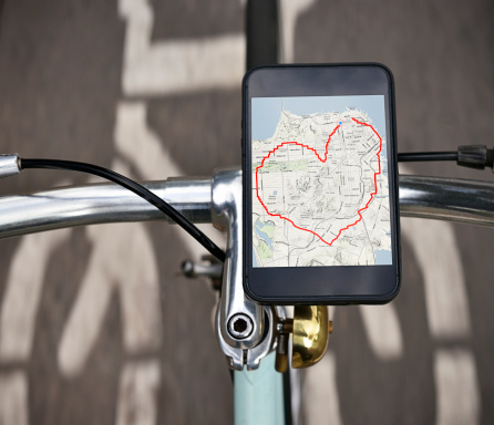 Bicycle「Heart shaped cycle route a device on a bicycle」:スマホ壁紙(8)