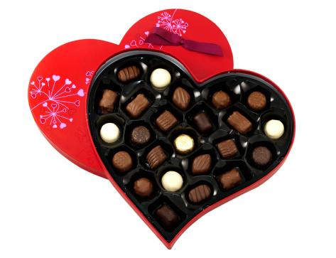 Milk Chocolate「Heart shaped box of chocolates on white」:スマホ壁紙(15)
