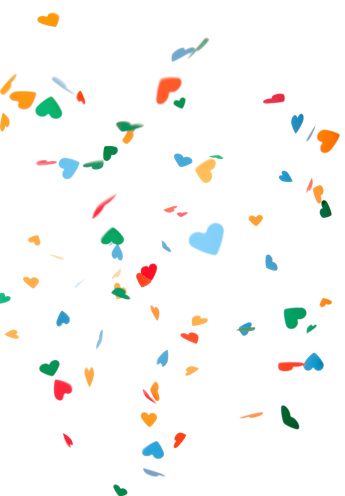 Motion「Heart Shaped Paper Confetti Falling, Isolated on White」:スマホ壁紙(9)