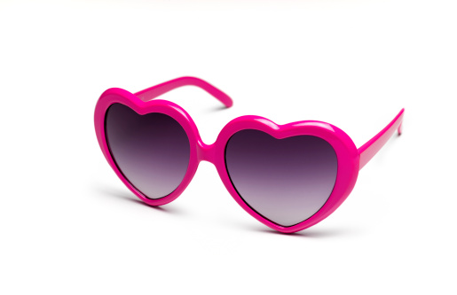 Femininity「Heart shaped sunglasses on white background」:スマホ壁紙(8)