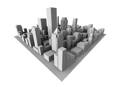 City「Isometric view of gray 3D city」:スマホ壁紙(1)