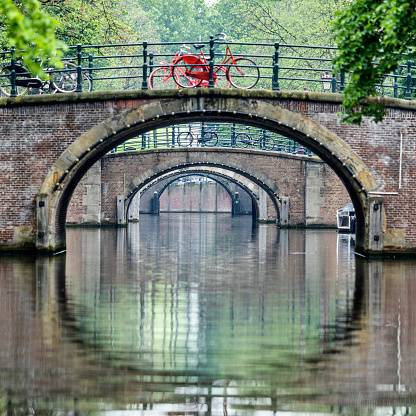 North Holland「Bicycles on bridges over urban canal」:スマホ壁紙(19)