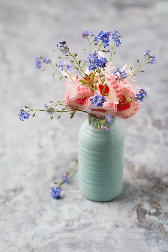 バレンタインデー「Forget-me-not and heart-shaped lollipops in a vase」:スマホ壁紙(8)