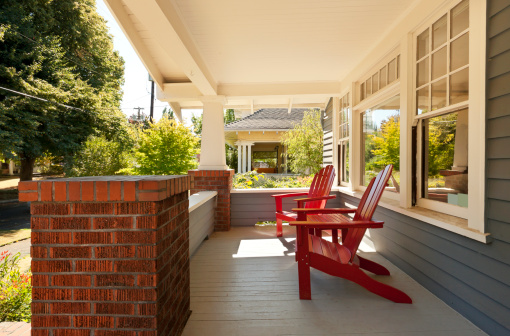 Adirondack Chair「Covered front porch with two red wood chairs」:スマホ壁紙(16)