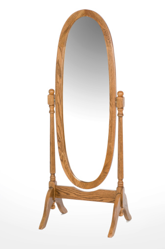 Mirror - Object「An oval oak full length mirror」:スマホ壁紙(9)