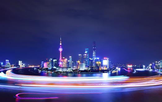Shanghai「Shanghai's Skyline at Night, China」:スマホ壁紙(2)