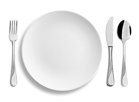 Silverware「Empty dinner plate with steel cutlery isolated on white background」:スマホ壁紙(17)