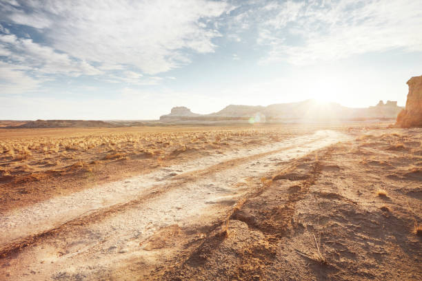 Dirt road in arid desert landscape with distant cliffs and sunlight:スマホ壁紙(壁紙.com)