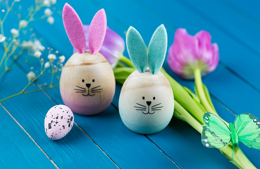 Easter Bunny「Two painted Easter eggs with rabbit ears」:スマホ壁紙(10)
