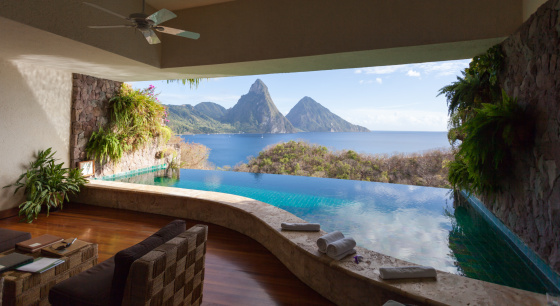Soufriere「View of St. Lucian Twin Pitons from Jade Mountain」:スマホ壁紙(0)