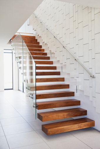 South Africa「Wooden stairs in modern house」:スマホ壁紙(8)