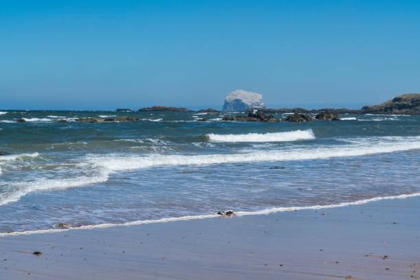 Looking to Bass Rock, North Berwick beach, Scotland:スマホ壁紙(壁紙.com)