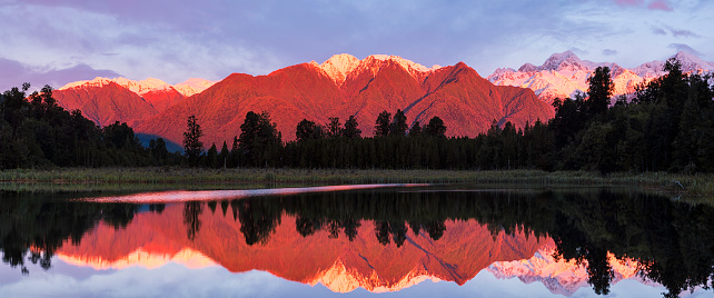 Westland - South Island New Zealand「Evening Light At Lake Matheson In New Zealand」:スマホ壁紙(15)