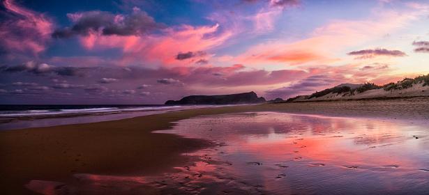 夕焼け 海「ポルト ・ サント島でビーチで夜の光」:スマホ壁紙(11)