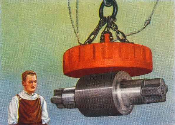Chromolithograph「Magnet that lifts 46 tons, 1938. Artist: Unknown.」:写真・画像(1)[壁紙.com]