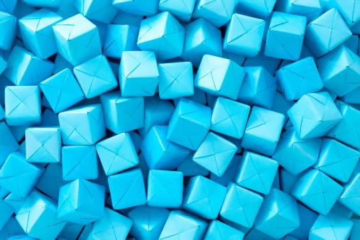 Paper Craft「Blue paper cubes」:スマホ壁紙(2)