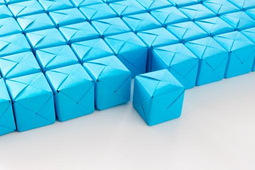 Paper Craft「Blue paper cubes」:スマホ壁紙(15)