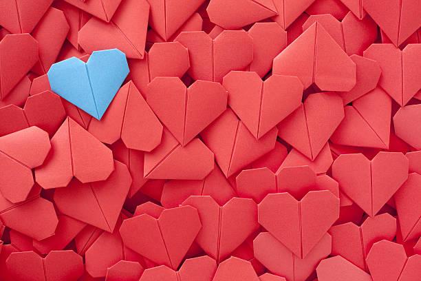Blue paper heart:スマホ壁紙(壁紙.com)