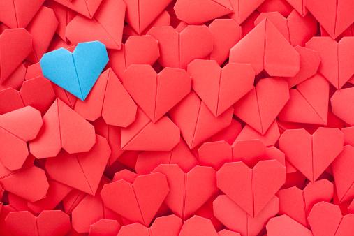 Origami「Blue paper heart」:スマホ壁紙(16)