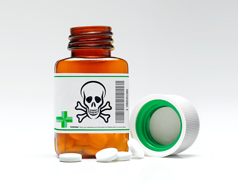 Codeine「Opioid Pill bottle with skull and crossbones warning symbol」:スマホ壁紙(13)