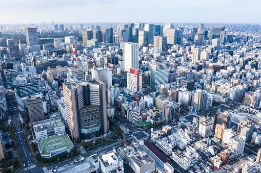 東京都中央区「東京築地の鳥の目のビュー。」:スマホ壁紙(3)