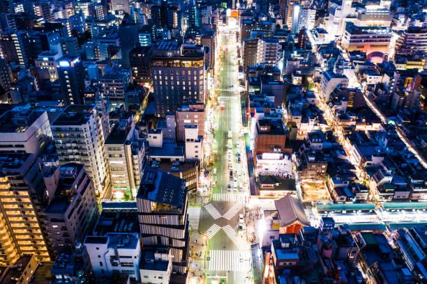 Bird's eye view of the lighted-up cityscape:スマホ壁紙(壁紙.com)