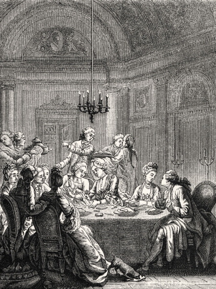 Upper Class「Daily life in French history: an aristocratic supper in 18th century France during reign of Louis XV. High society dining / eating / feasting.  Servants.」:写真・画像(4)[壁紙.com]