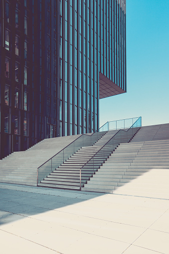 Railing「modern staircase in urban surrounding, media harbor duesseldorf, germany」:スマホ壁紙(1)