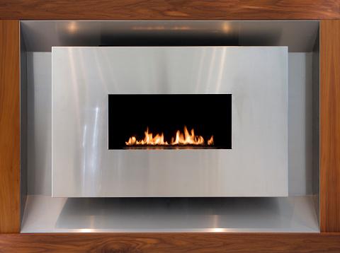 Walnut「モダンなステンレススチールとクルミのガスの暖炉」:スマホ壁紙(16)
